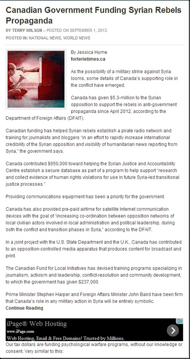 Canadian Government Funding Syrian Rebels Propaganda